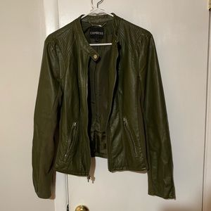Express faux leather forest green jacket